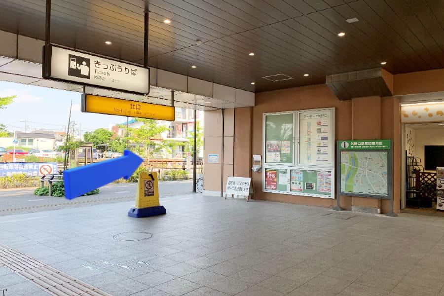 矢野口駅改札から北口を出て、右に曲がります。